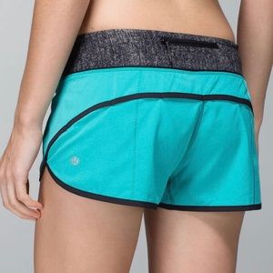 "Lululemon Speed Shorts 2.5"" Blue Tropics Burlap 6"
